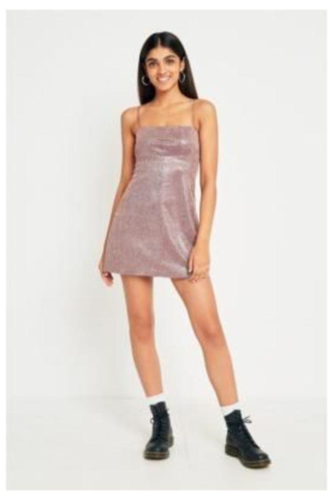 Pins & Needles Moonbeam Metallic Slip Dress, Pink