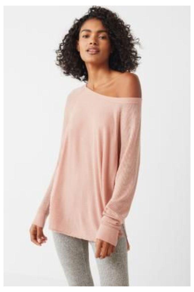 Out From Under Sophia Side-Split Raglan Top, Pink