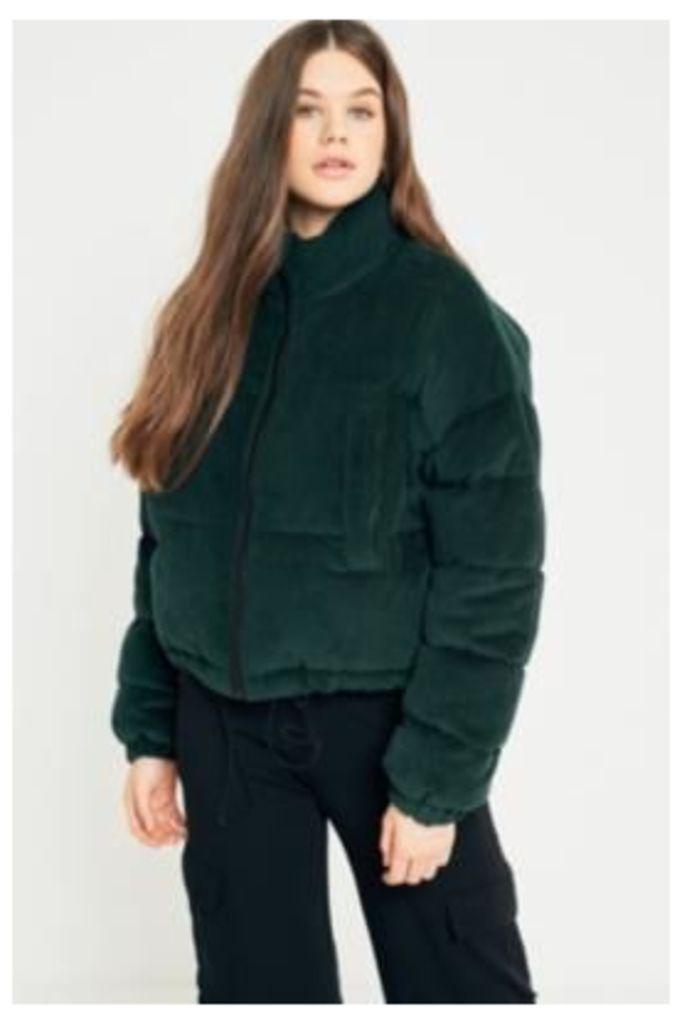 Light Before Dark Green Corduroy Puffer Jacket, Green