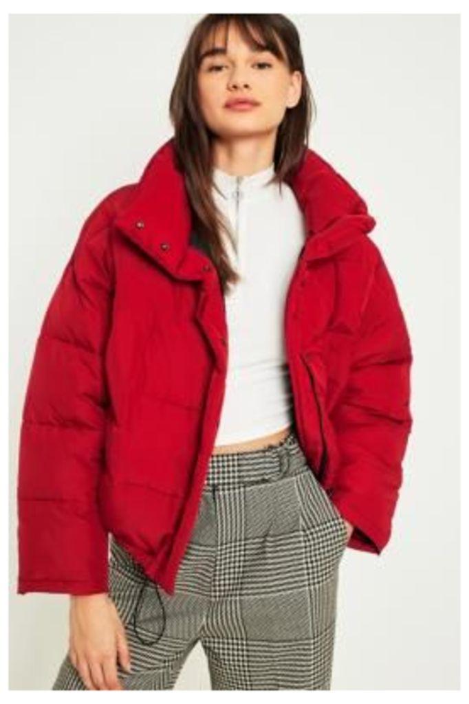 Light Before Dark Red Pillow Puffer Jacket, Red