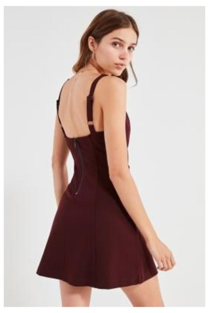 UO Sherrie Maroon Square-Neck Fit and Flare Dress, Maroon