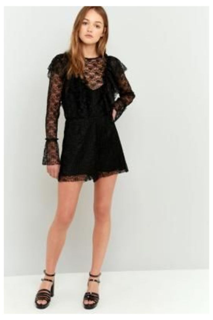 Pins & Needles Pleated Ruffle Neck Lace Playsuit, Black