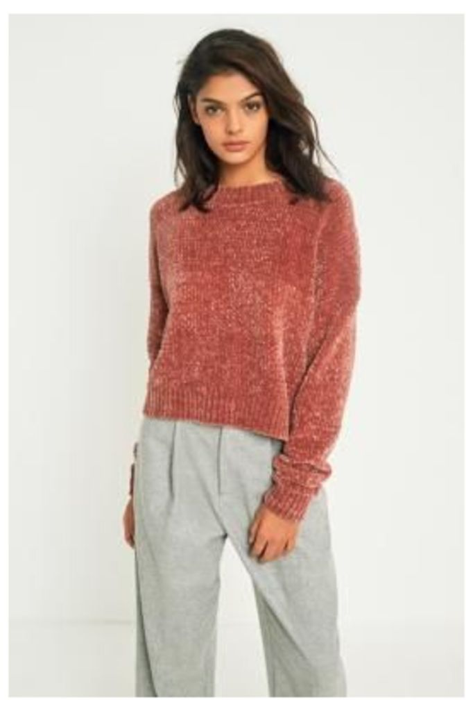Urban Outfitters Chenille Crew Neck Jumper, Brown