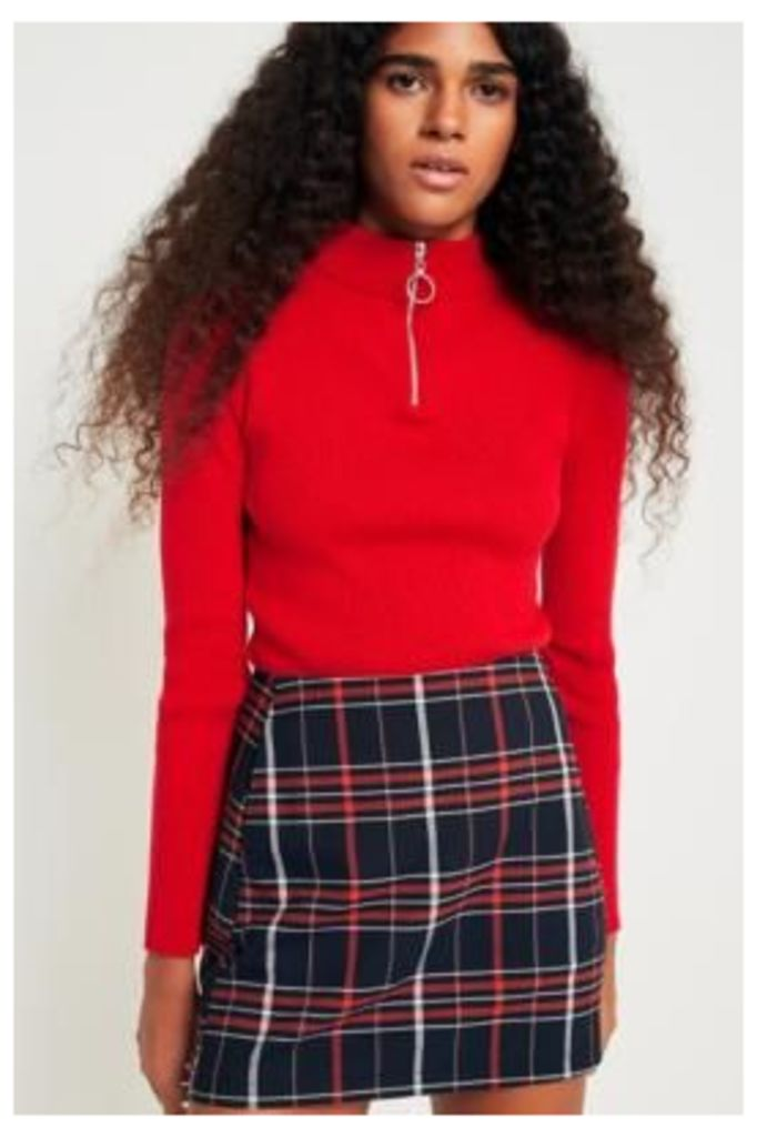 Urban Outfitters Ribbed Half-Zip Mock Neck Jumper, Red