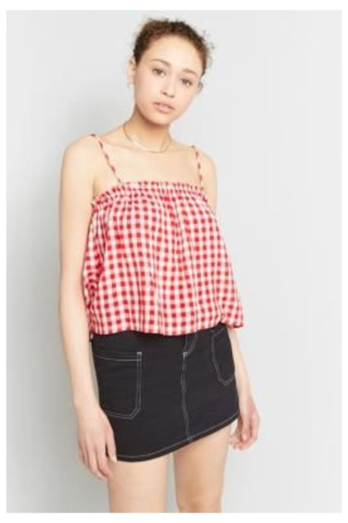Pins & Needles Gingham Frill Edge Cami, Red