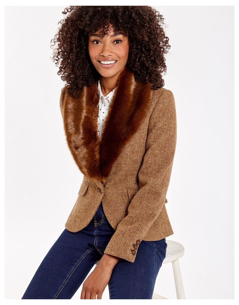 Camel Herringbone Wilomena Tweed Jacket  Size 12 | Joules UK