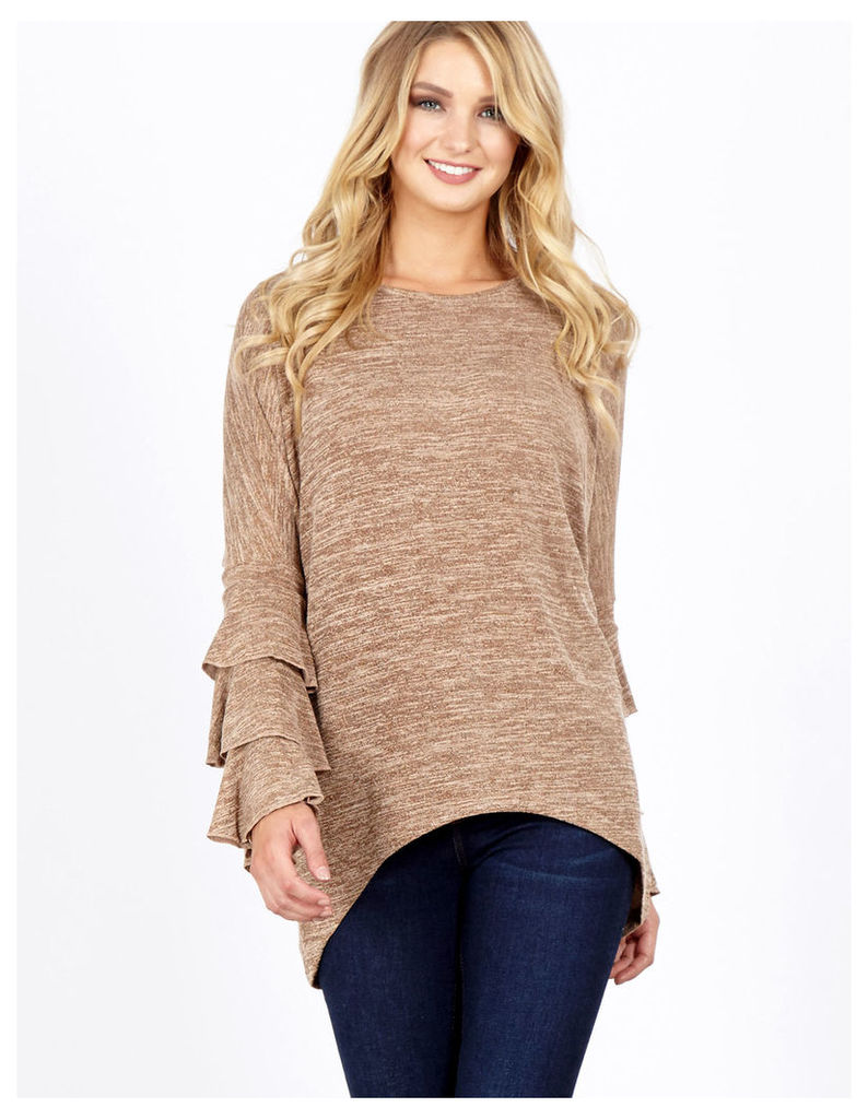 CELIA - Layered Frill Sleeve Mocha Top