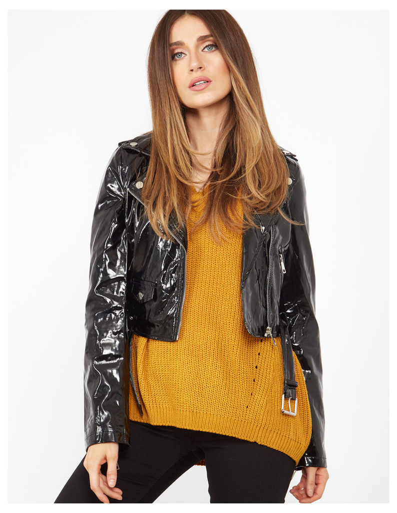 IDOYA - High Shine Belted Black Biker Jacket