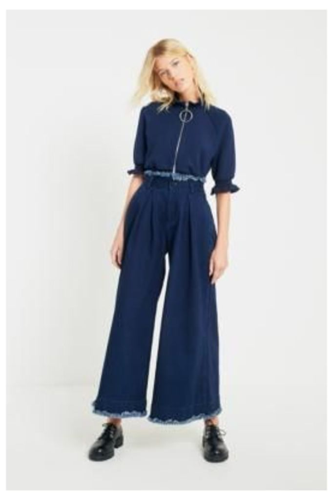 Angel Chen Washed Navy Pleated Wide Leg Trousers, Navy