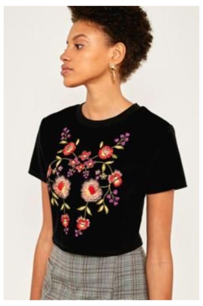 Pins & Needles Velvet Floral Embroidered T-Shirt, Black