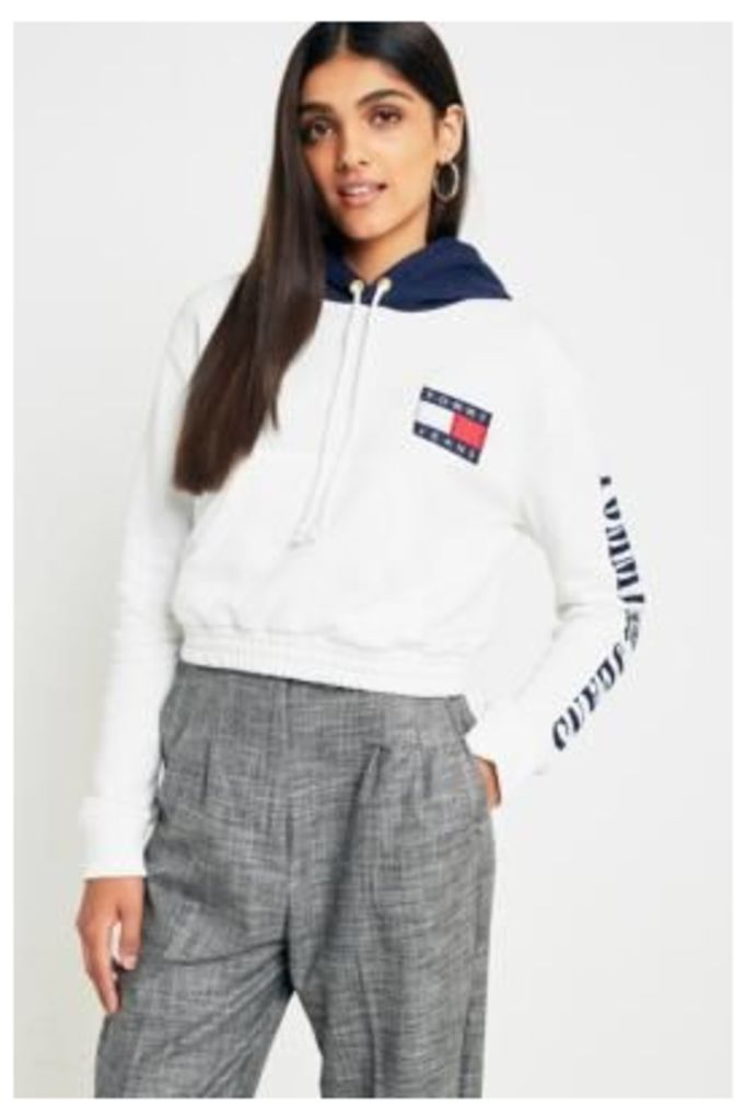 Tommy Jeans '90s Cropped Contrast Hoodie, White