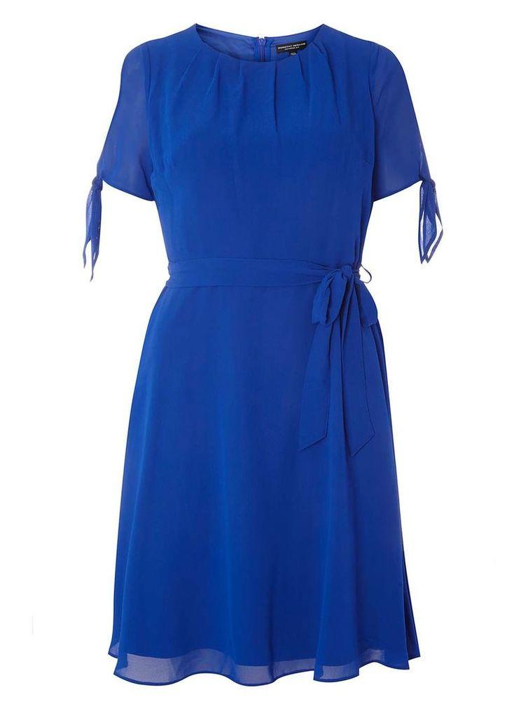 Womens Cobalt Chiffon Fit & Flare Dress- Cobalt