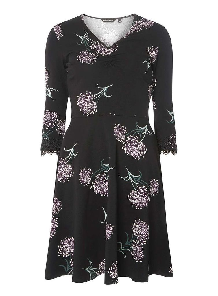 Womens Black Floral Print Fit and Flare Dress- Black