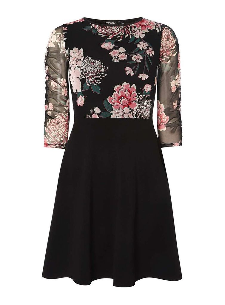 Womens Black Floral Mesh Skater Dress- Black