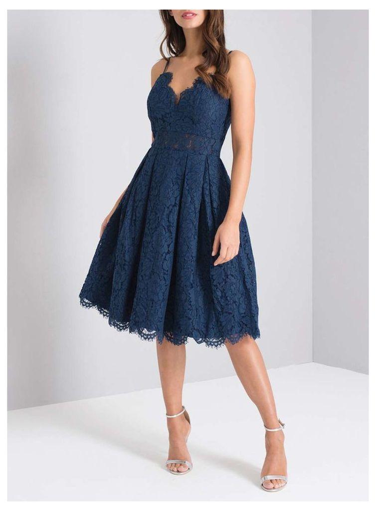 Womens *Chi Chi London Navy Lace Midi Skater Dress- Blue
