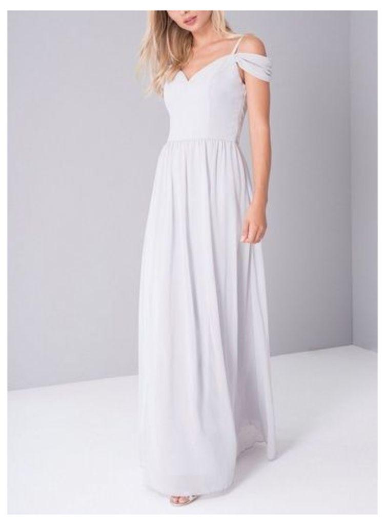 Womens *Chi Chi London Grey Bardot Maxi Dress- Grey