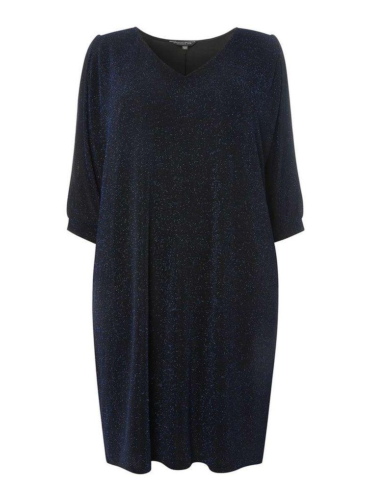 Womens DP Curve Plus Size Navy Sparkle Split Shift Dress- Blue