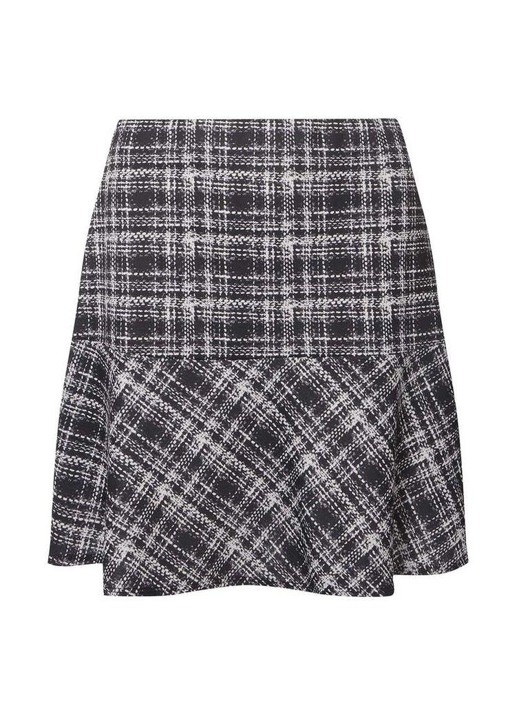 Womens Black and White Check Print Peplum Mini Skirt- Black
