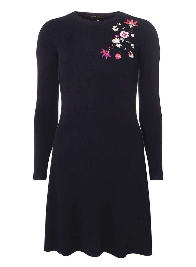 Womens Navy Floral Embroidered Fit and Flare Knitted Dress- Blue