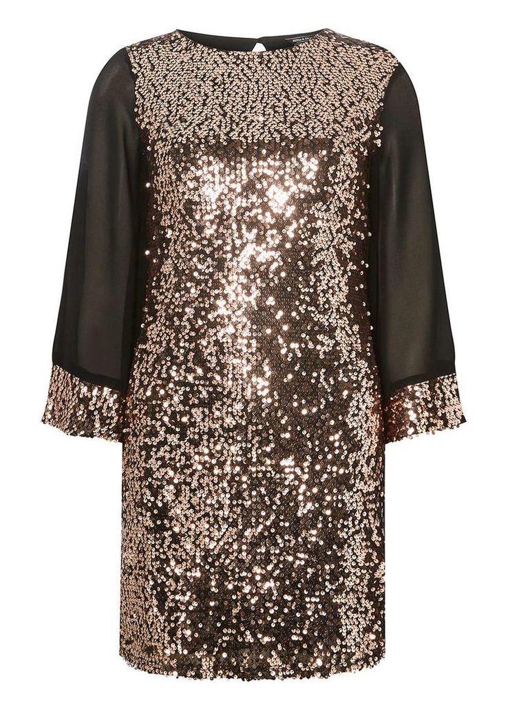 Womens **Billie & Blossom Brown Kimono Sequin Shift Dress- Bronze