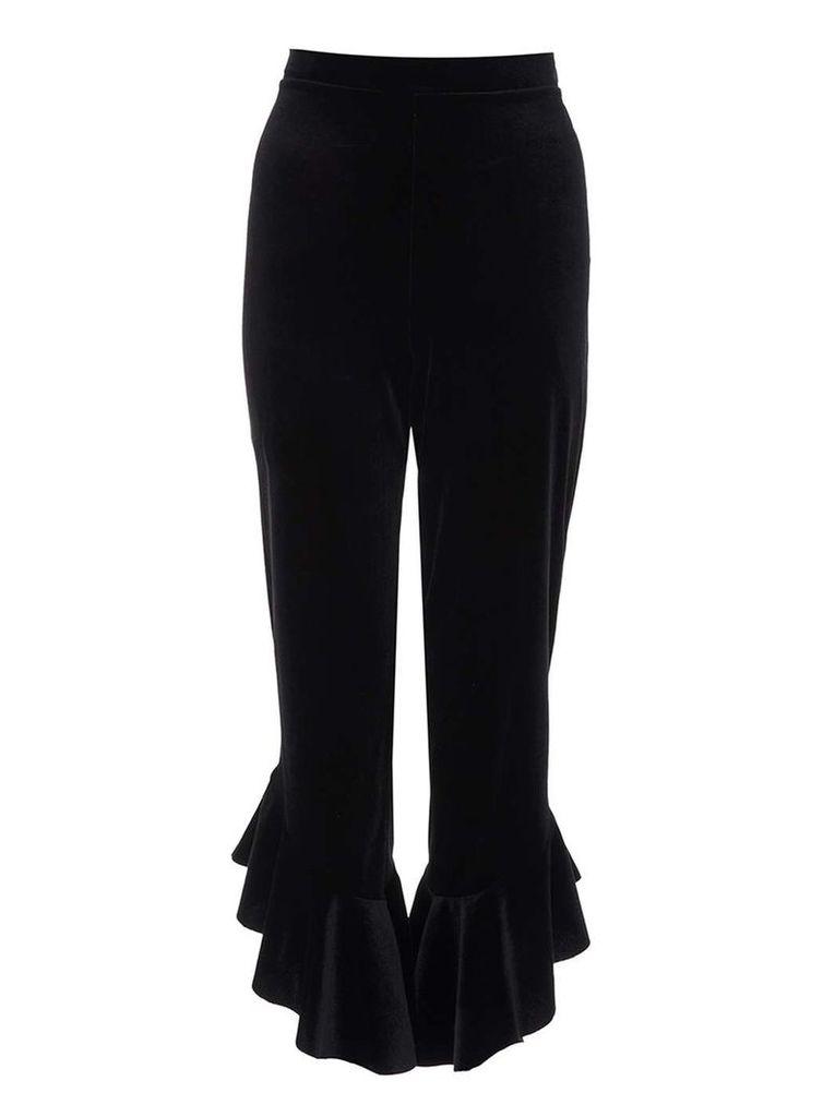 Womens *Quiz Black Velvet Frill Trousers- Black