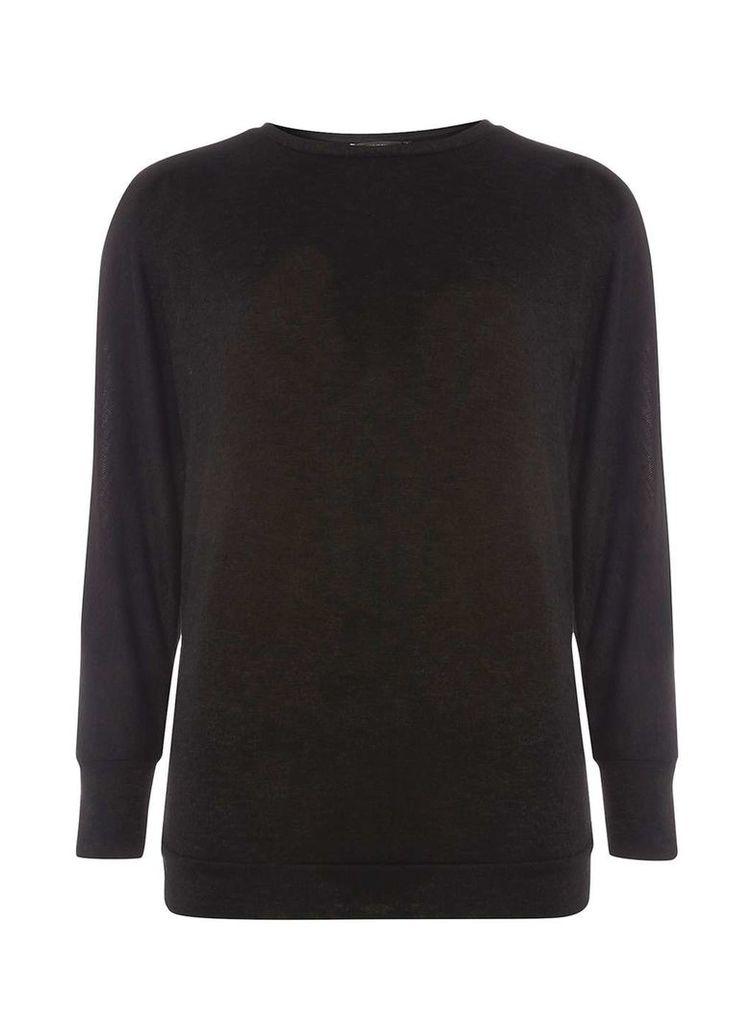 Womens Black Split Sleeve Jersey Knitted Top- Black