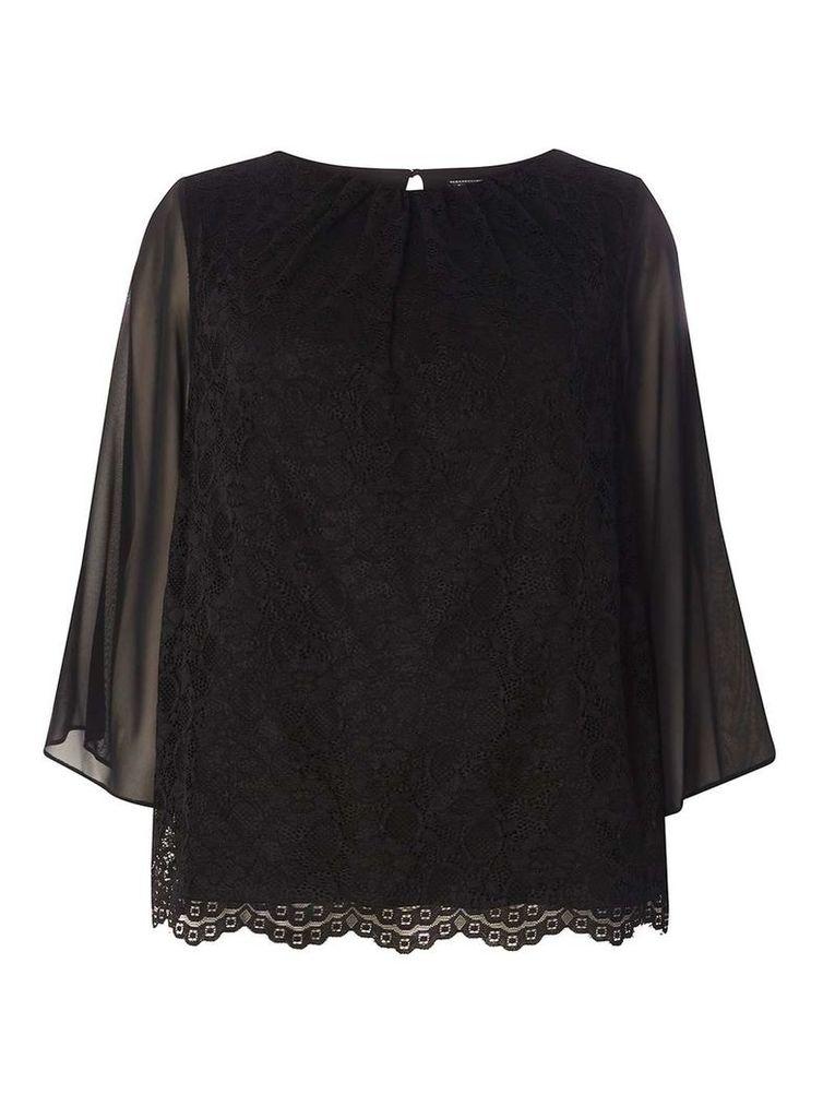 Womens **Billie & Blossom Curve Black Lace Kimono- Black