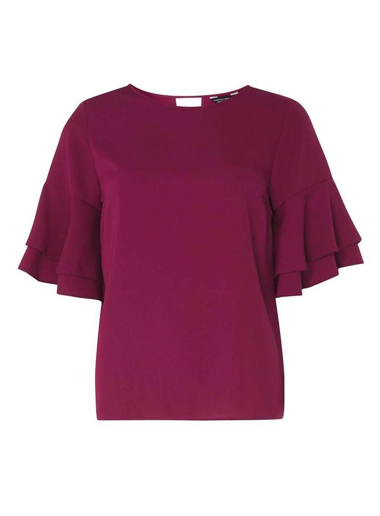 Womens Purple Double Ruffle Sleeve Top- Purple