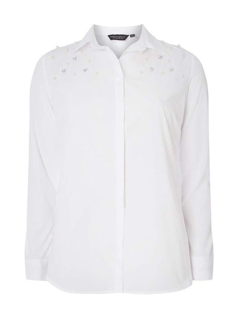 Womens White Plain Embellished Shirt- White
