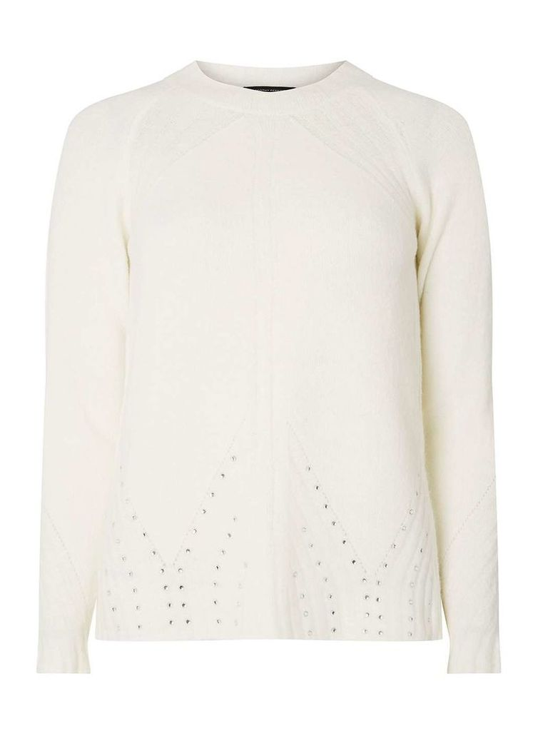 Womens Ivory Embellished Hem Jumper- White