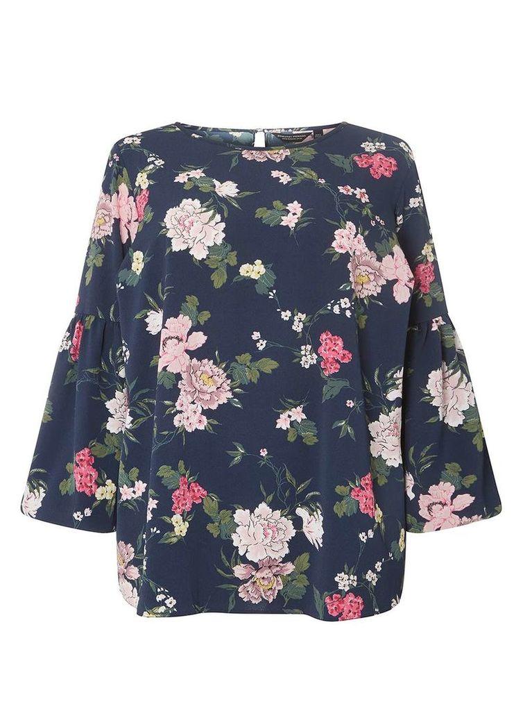 Womens DP Curve Plus Size Blue Floral Print Wide Sleeve Top- Blue