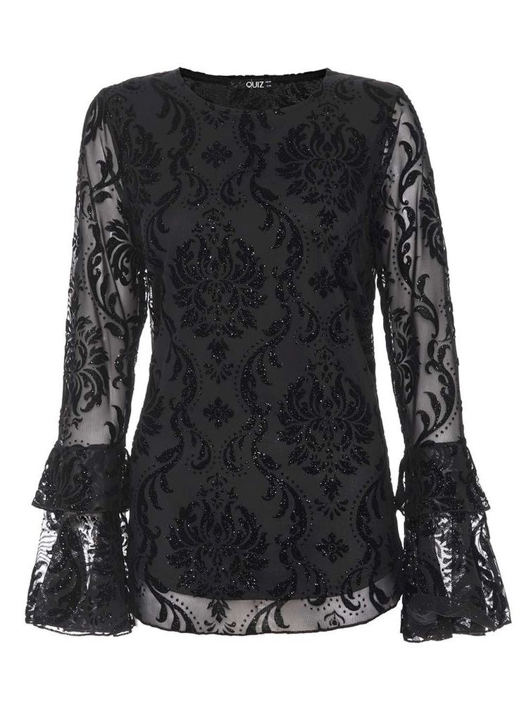 Womens *Quiz Black Frill Long Sleeve Top- Black