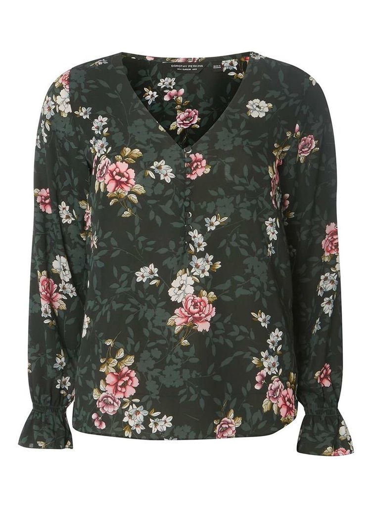 Womens Green Floral Print V-Neck Blouse- Green