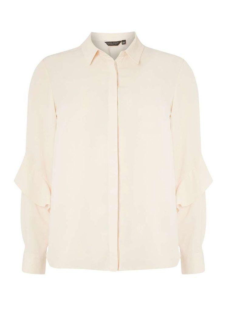 Womens Champagne Ruffle Sleeve Shirt- White