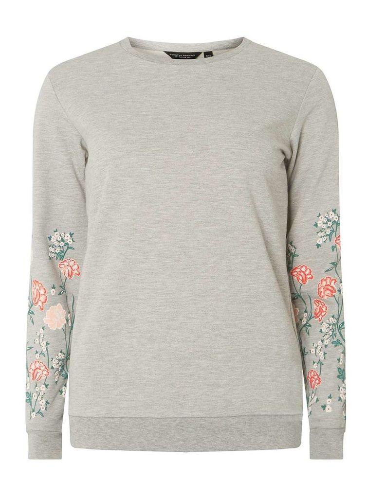 Womens Grey Floral Print Sleeve Jumper- Grey