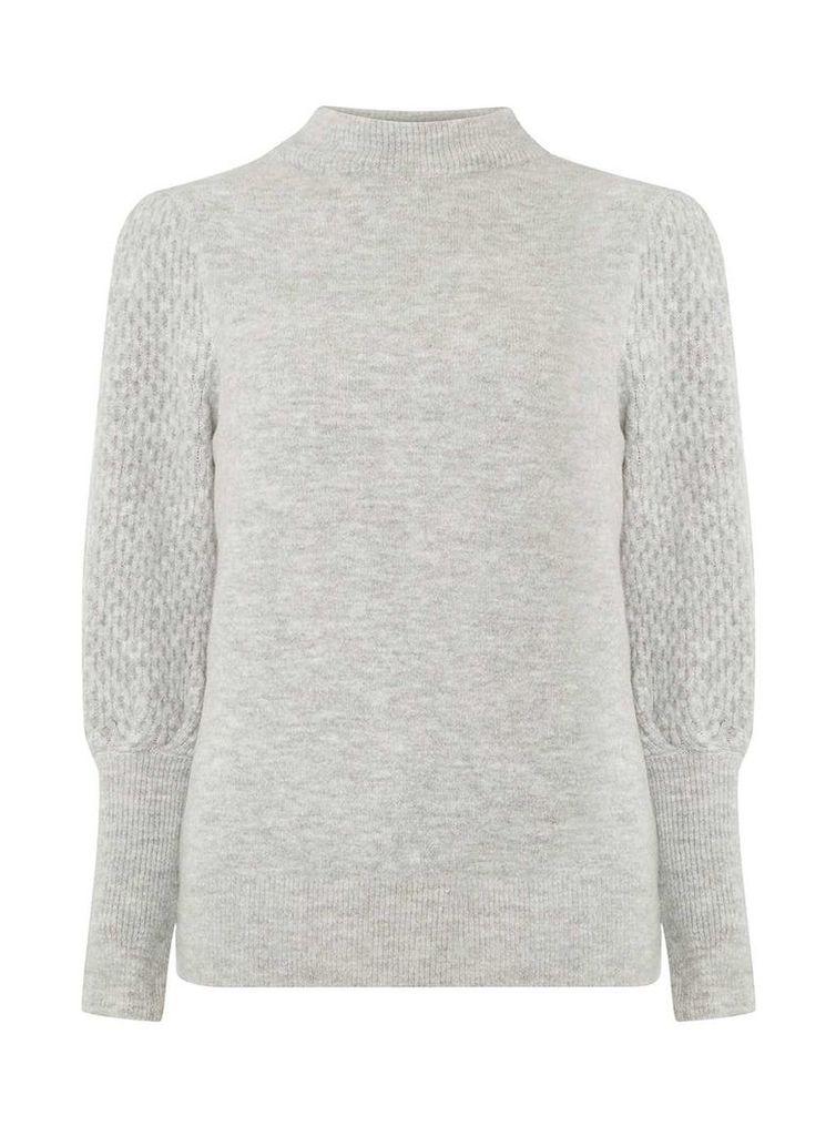 Womens Grey Textured Sleeve Jumper- Grey