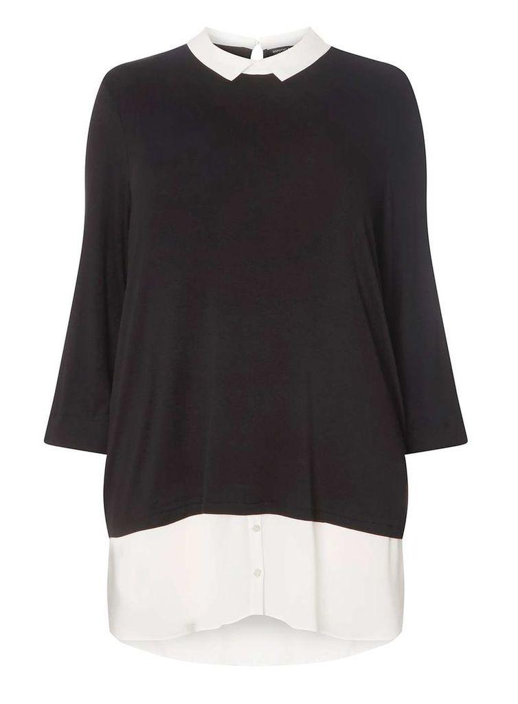 Womens DP Curve Plus Size Black 2 in 1 Shirt Top- Black
