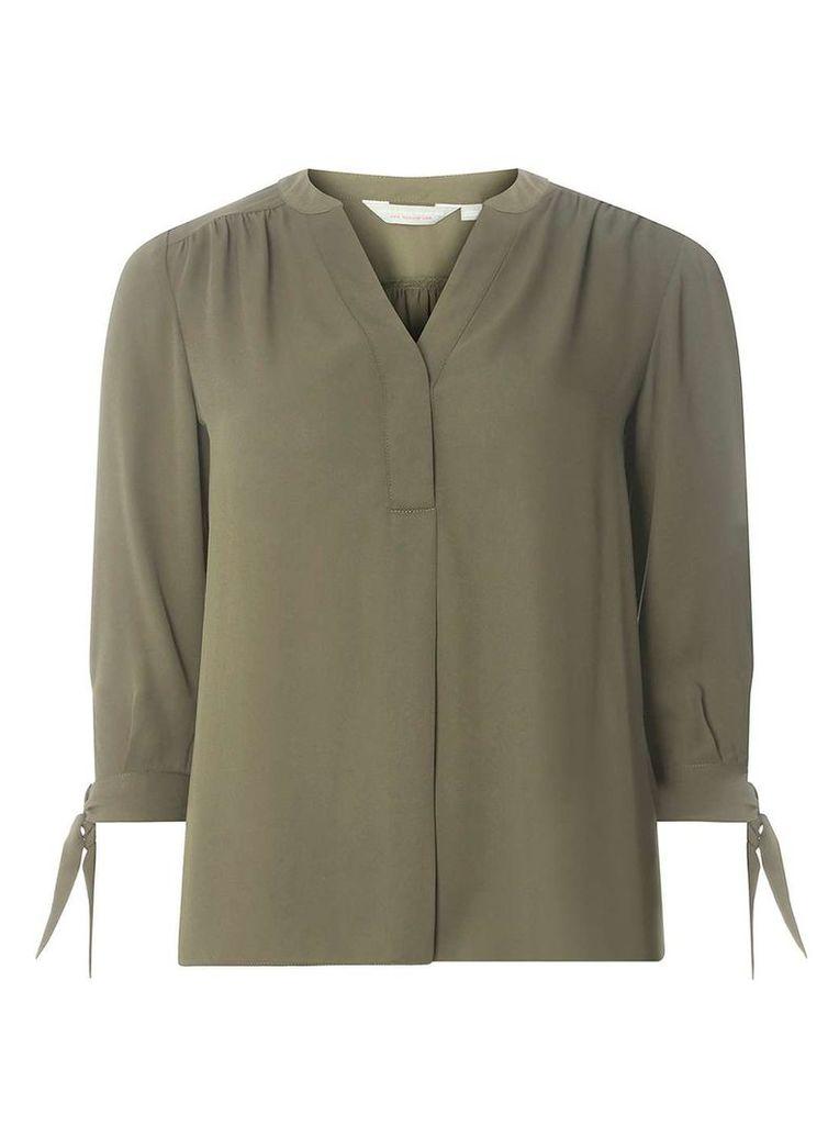 Womens Petite Khaki Tie Sleeve Shirt- Khaki