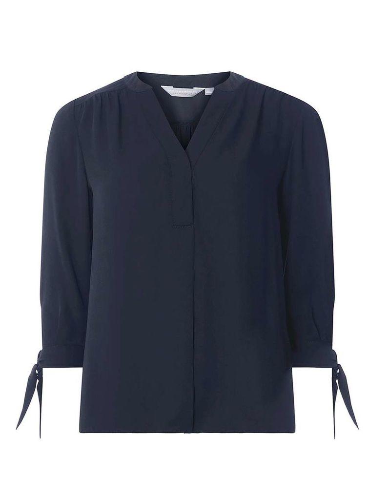 Womens Petite Navy Tie Sleeve Shirt- Blue