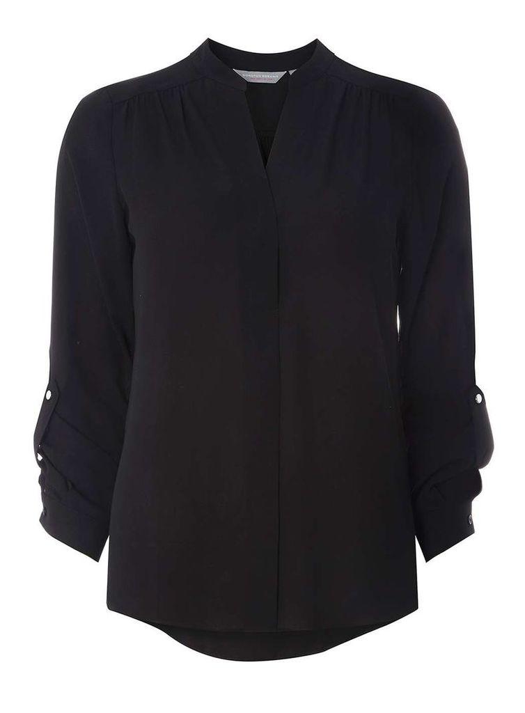 Womens Petite Black Roll Sleeve Shirt- Black