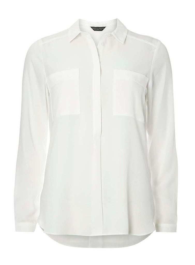 Womens Ivory Two Pocket Shirt- White