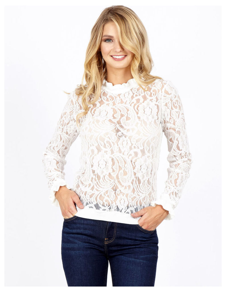 TAMIA - Lace With Frill Trim White Jumper