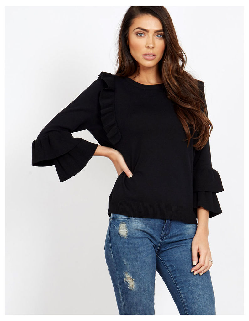 OVIDIA - Ruffle Sleeves and Front Black Jumper