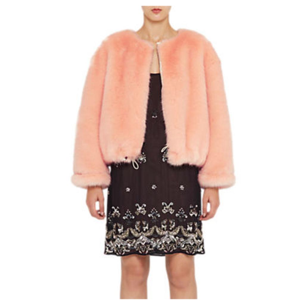 French Connection Leonie Fur Jacket, Peach Fizz