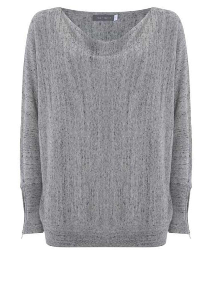 Grey Zip Cuff Batwing Knit