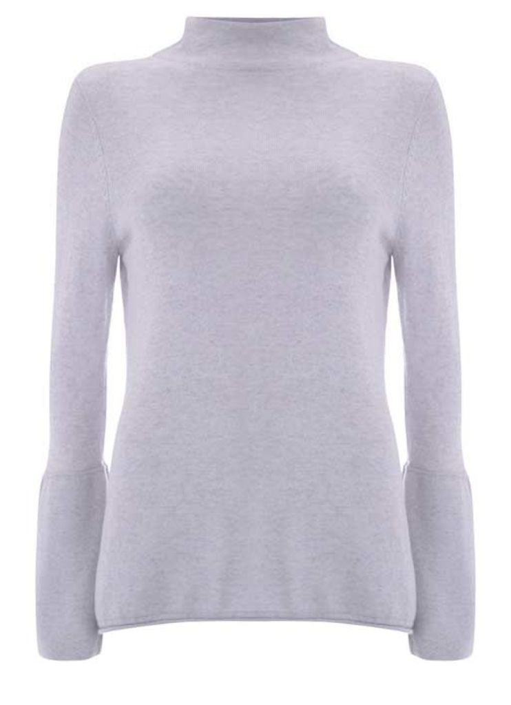 Mist Marl Fluted Sleeve Knit