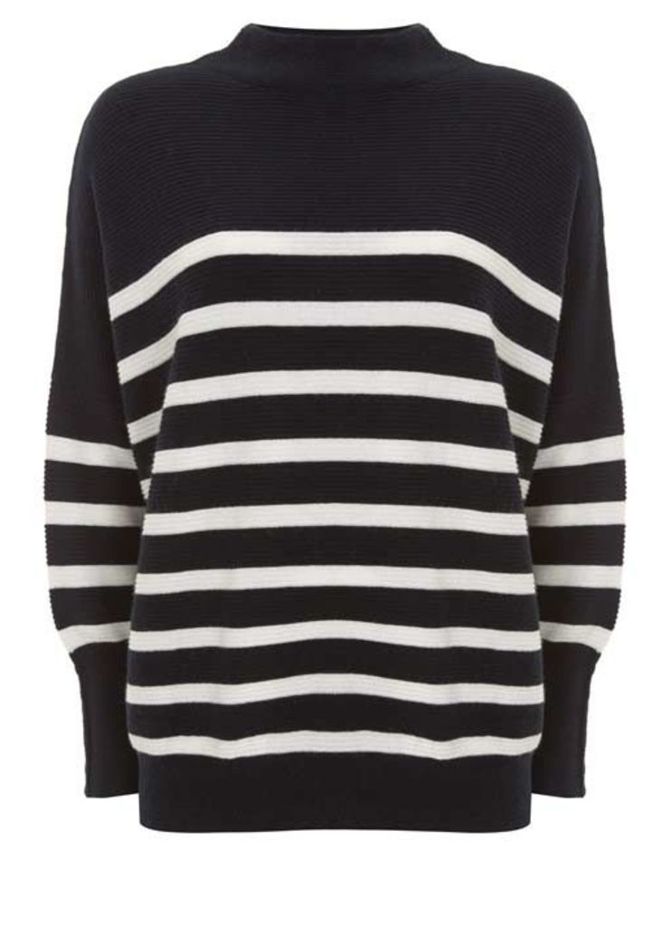Navy Stripe Funnel Neck Knit