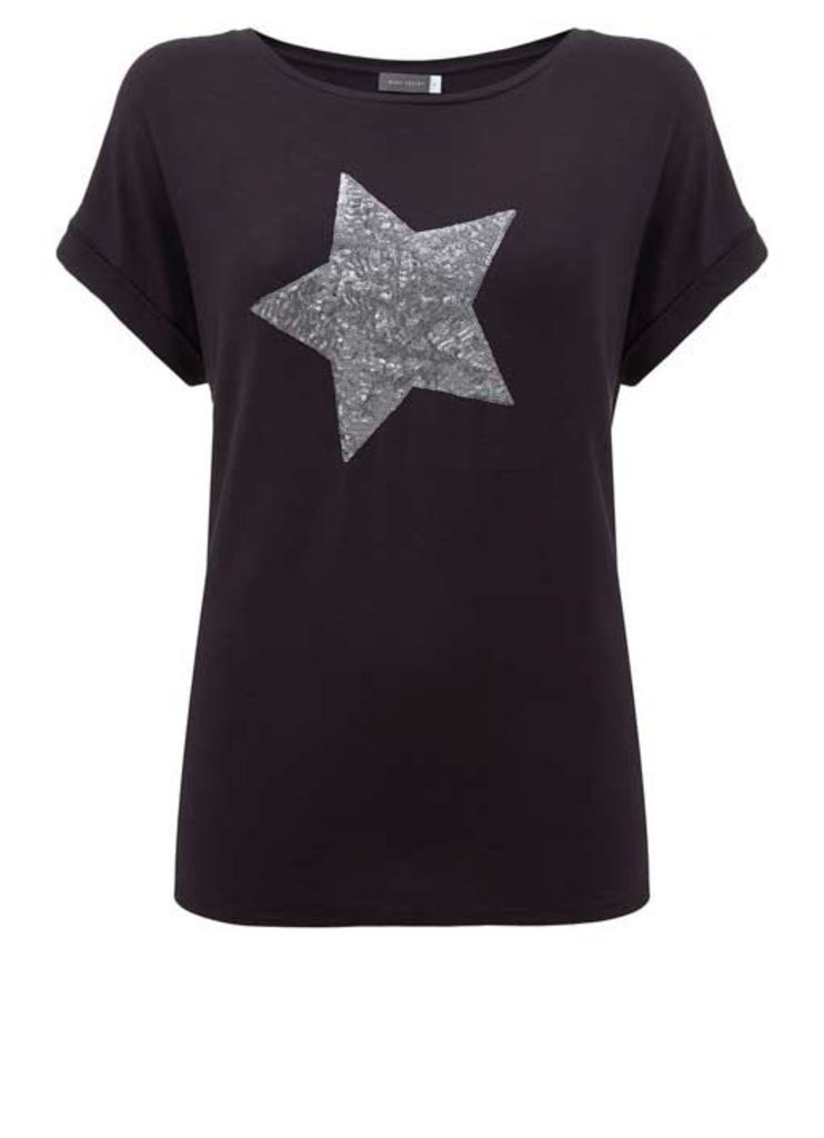 Charcoal Sequin Star Tee