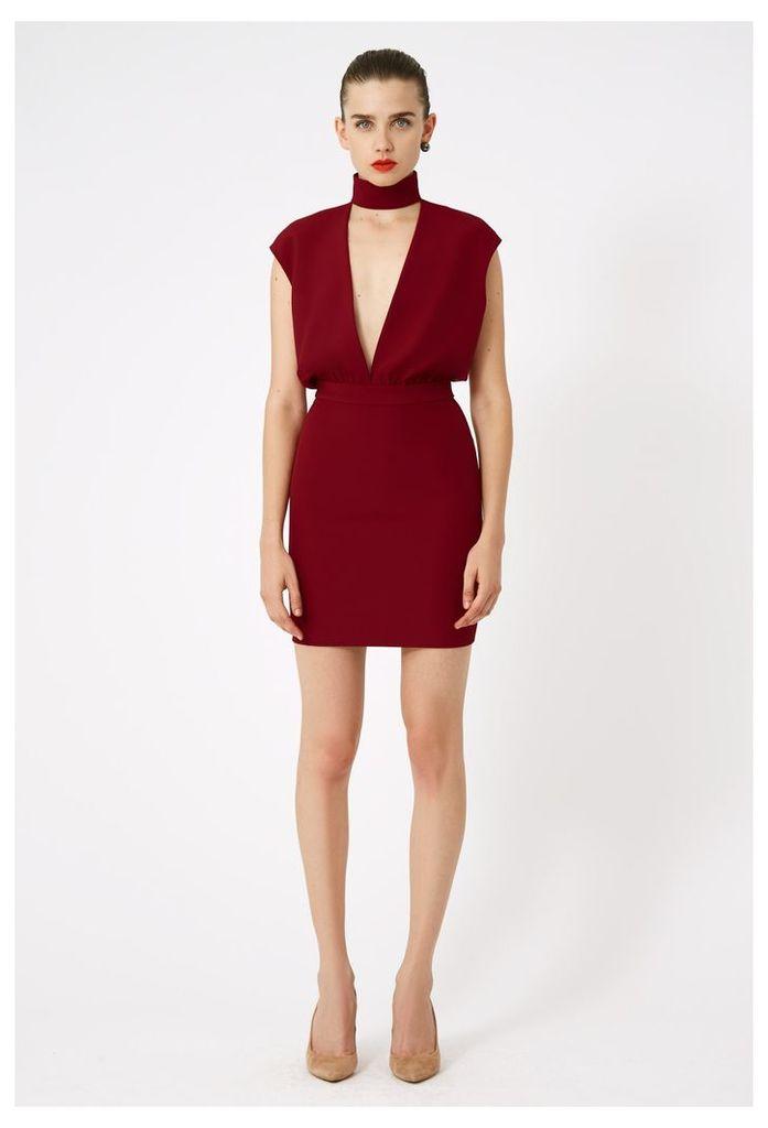 Dakota Keyhole Mini Dress - Wine