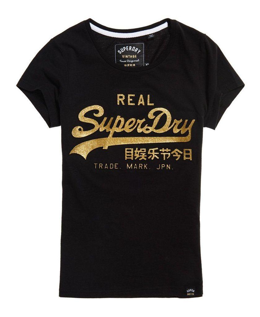 Superdry Vintage Logo Embossed Glitter T-Shirt